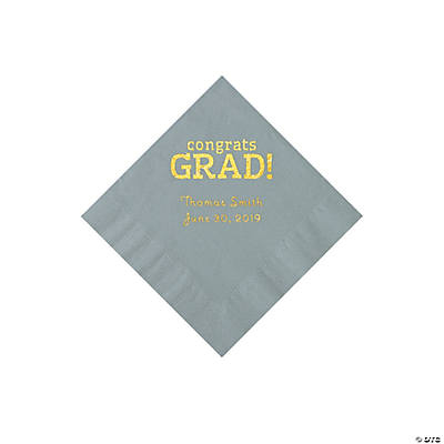 Silver Congrats Grad Personalized Napkins with Gold Foil - Beverage Image Thumbnail