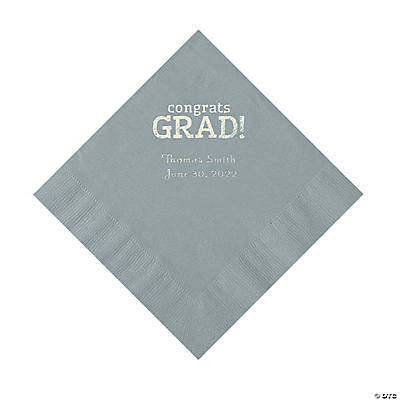 Silver Congrats Grad Personalized Napkins with Silver Foil - Luncheon Image Thumbnail