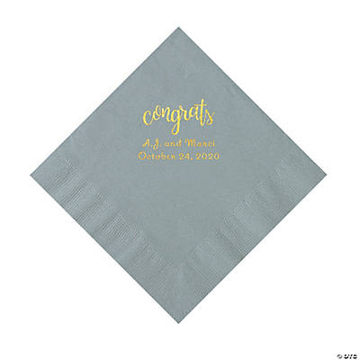 Silver Congrats Personalized Napkins with Gold Foil - Luncheon Image Thumbnail