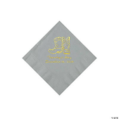 Silver Cowboy Boots Personalized Napkins with Gold Foil - Beverage Image Thumbnail