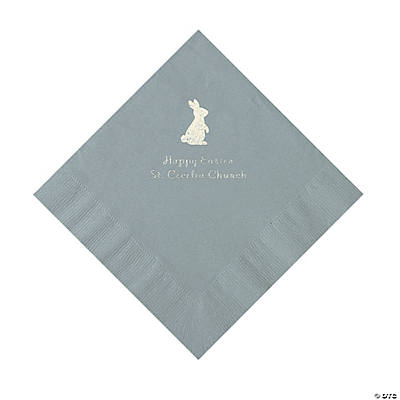 Silver Easter Bunny Personalized Napkins with Silver Foil - Luncheon Image Thumbnail