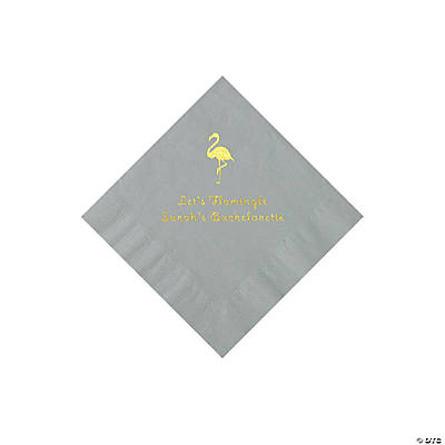 Silver Flamingo Personalized Napkins with Gold Foil - Beverage