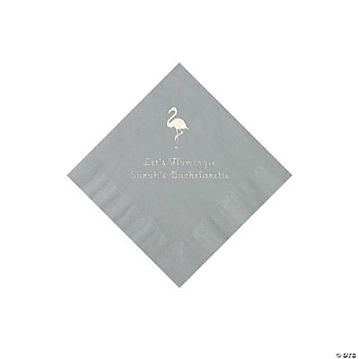 Silver Flamingo Personalized Napkins with Silver Foil - Beverage Image Thumbnail