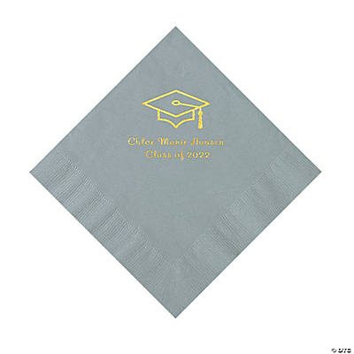 Silver Grad Mortarboard Personalized Napkins with Gold Foil – Luncheon Image Thumbnail