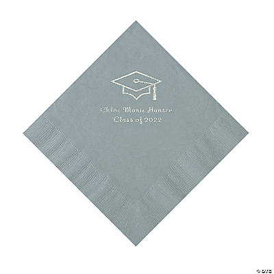 Silver Grad Mortarboard Personalized Napkins with Silver Foil – Luncheon Image Thumbnail