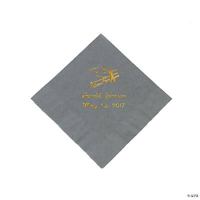 Silver Graduation Personalized Beverage Napkins with Gold Print Image Thumbnail