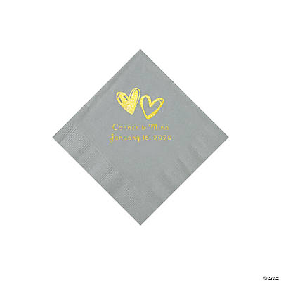 Silver Hearts Personalized Napkins with Gold Foil - Beverage Image Thumbnail