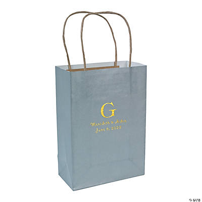 Silver Medium Personalized Monogram Welcome Gift Bags with Gold Foil Image Thumbnail