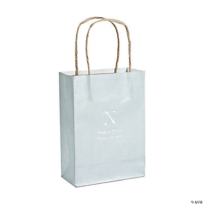 Silver Medium Personalized Monogram Welcome Gift Bags with Silver Foil Image Thumbnail