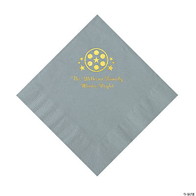 Silver Movie Night Personalized Napkins with Gold Foil – Luncheon Image Thumbnail