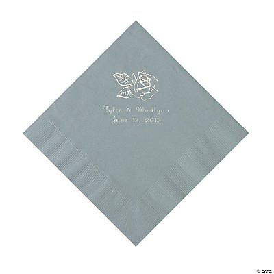 Silver Rose Personalized Napkins - Luncheon Image Thumbnail