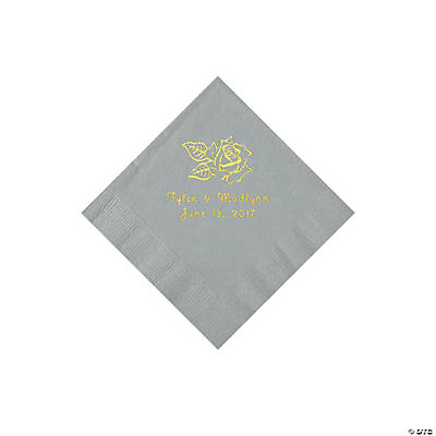 Silver Rose Personalized Napkins with Gold Foil - Beverage Image Thumbnail