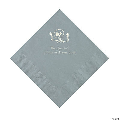 Silver Skeleton Personalized Napkins with Silver Foil - Luncheon Image Thumbnail