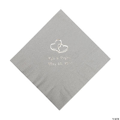 Silver Two Hearts Personalized Napkins with Silver Foil - Luncheon Image Thumbnail