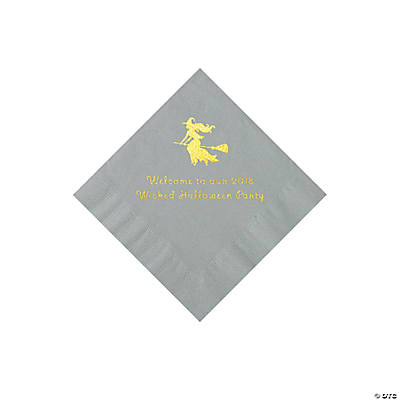 Silver Witch Personalized Napkins with Gold Foil - Beverage Image Thumbnail