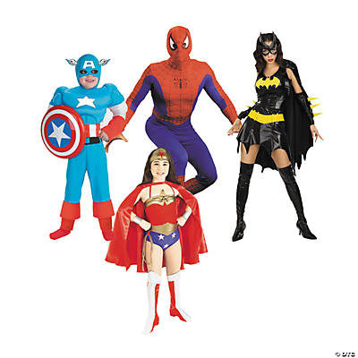 superheroes group costumes rh orientaltrading com Female Superhero Costumes Superhero Costumes Drawings