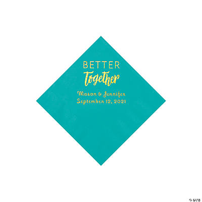 Teal Better Together Personalized Napkins with Gold Foil - Beverage Image Thumbnail