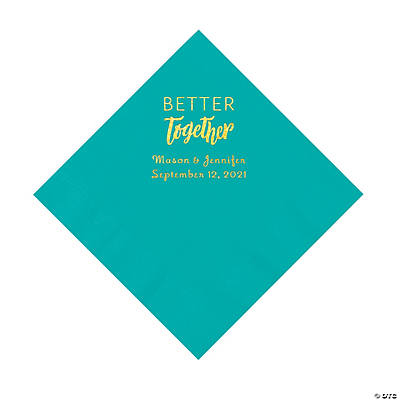 Teal Better Together Personalized Napkins with Gold Foil - Luncheon Image Thumbnail