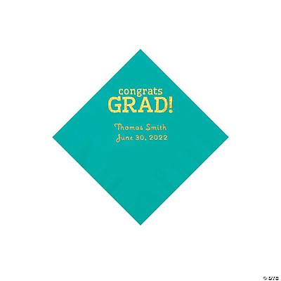 Teal Congrats Grad Personalized Napkins with Gold Foil - Beverage Image Thumbnail