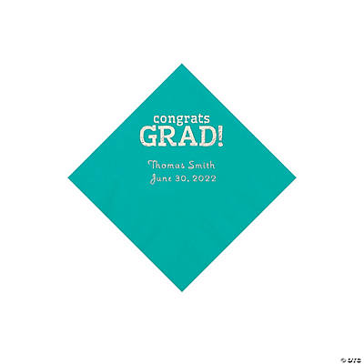 Teal Congrats Grad Personalized Napkins with Silver Foil - Beverage Image Thumbnail