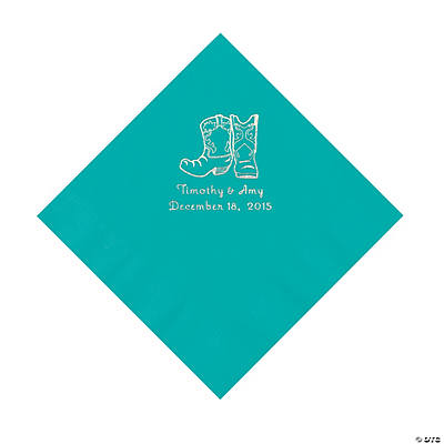 Teal Cowboy Boots Personalized Napkins - Luncheon Image Thumbnail