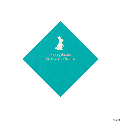 Teal Easter Bunny Personalized Napkins with Silver Foil - Beverage Image Thumbnail