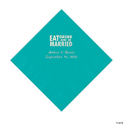 Teal Eat, Drink And Be Married Napkins with Silver Foil - Luncheon Image Thumbnail