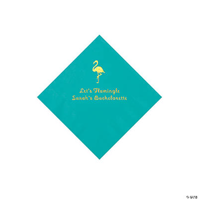 Teal Flamingo Personalized Napkins with Gold Foil - Beverage Image Thumbnail