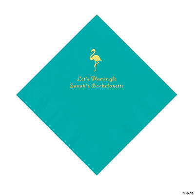 Teal Flamingo Personalized Napkins with Gold Foil - Luncheon Image Thumbnail