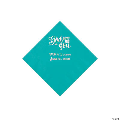 Teal God Gave Me You Personalized Napkins with Silver Foil - Beverage Image Thumbnail