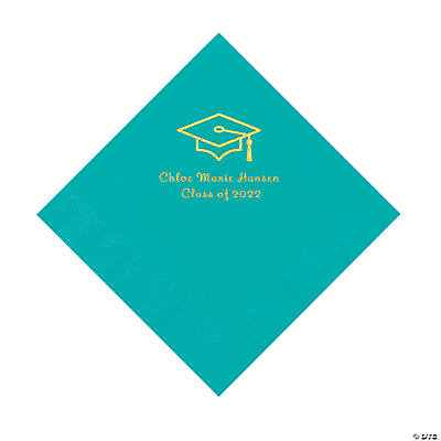 Teal Grad Mortarboard Personalized Napkins with Gold Foil – Luncheon Image Thumbnail