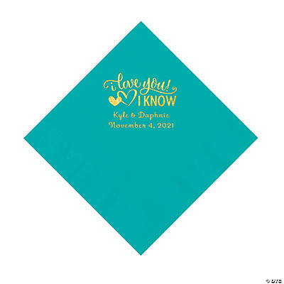 Teal I Love You, I Know Personalized Napkins with Gold Foil - Luncheon Image Thumbnail