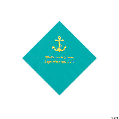 Teal Lagoon Anchor Personalized Napkins with Gold Foil - Beverage Image Thumbnail
