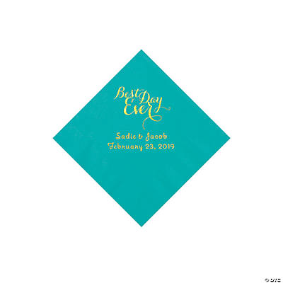Teal Lagoon Best Day Ever Personalized Napkins with Gold Foil - Beverage