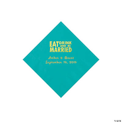 Teal Lagoon Eat Drink & Be Married Personalized Napkins with Gold Foil - Beverage Image Thumbnail