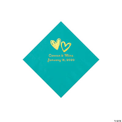 Teal Lagoon Hearts Personalized Napkins with Gold Foil - Beverage Image Thumbnail
