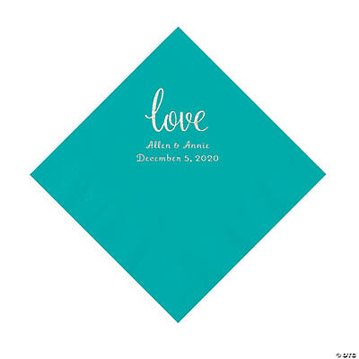 Teal Lagoon Love Script Personalized Napkins with Silver Foil - Luncheon Image Thumbnail