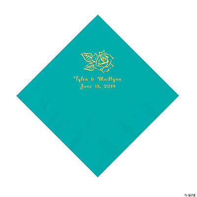 Teal Lagoon Rose Personalized Napkins with Gold Foil - Luncheon Image Thumbnail