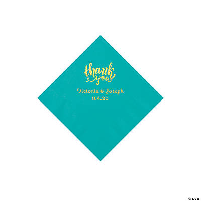 Teal Lagoon Thank You Personalized Napkins with Gold Foil - Beverage Image Thumbnail