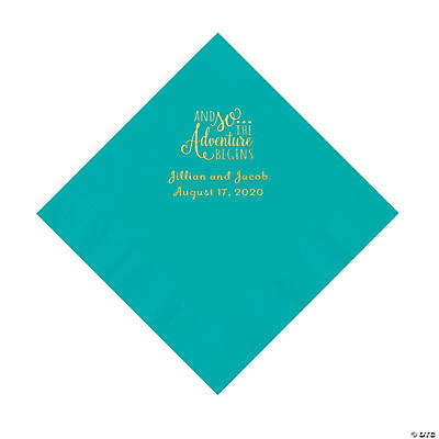 Teal Lagoon The Adventure Begins Personalized Napkins with Gold Foil - Luncheon Image Thumbnail