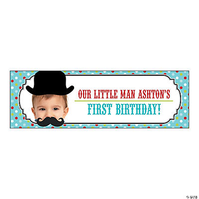 Top Hat & Mustache Lil Man Party Photo Custom Banner - Small Image Thumbnail