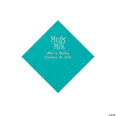 Tropical Teal Mr. & Mrs. Personalized Napkins with Silver Foil - Beverage Image Thumbnail