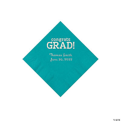 Turqouise Congrats Grad Personalized Napkins with Silver Foil - Beverage Image Thumbnail