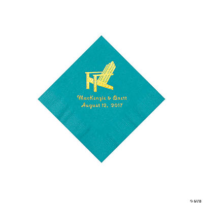 Turquoise Beach Chair Personalized Napkins with Gold Foil – Beverage