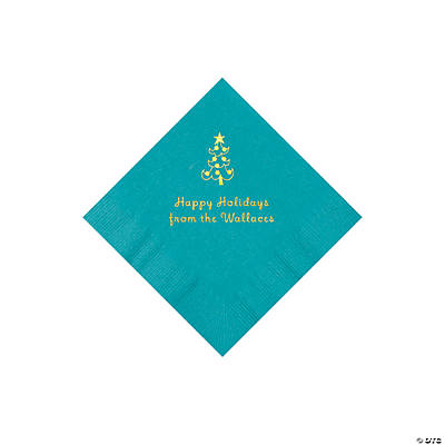 Turquoise Christmas Tree Personalized Napkins with Gold Foil – Beverage