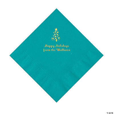 Turquoise Christmas Tree Personalized Napkins with Gold Foil – Luncheon Image Thumbnail