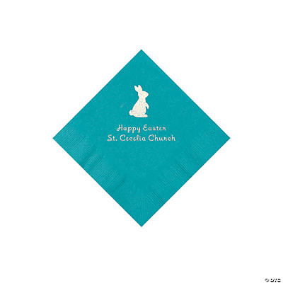 Turquoise Easter Bunny Personalized Napkins with Silver Foil - Beverage Image Thumbnail