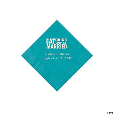 Turquoise Eat, Drink And Be Married Napkins with Silver Foil - Beverage Image Thumbnail