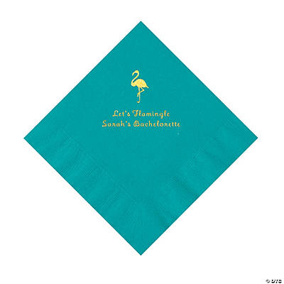 Turquoise Flamingo Personalized Napkins with Gold Foil - Luncheon Image Thumbnail