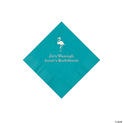Turquoise Flamingo Personalized Napkins with Silver Foil - Beverage